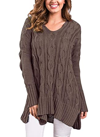 de036be51e8 VERABENDI Women Casual V Neck Loose Fit Cable Knit Sweater Pullover Top  Brown Small