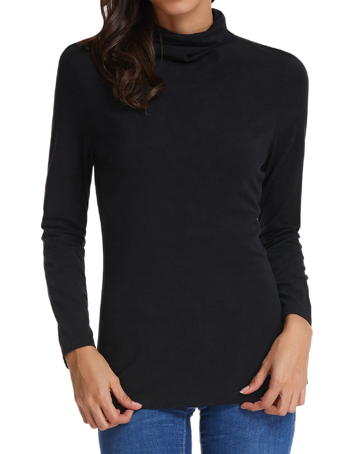 Comfortable Turtleneck Pullover Jersey Top For Junior (XL,Black) by Kate Kasin (Image #2)