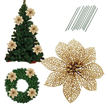 5.8 Inch Glitter Artifical Wedding Christmas Flowers Glitter Poinsettia Christmas  Tree Ornaments Christmas Tree Decorations Pack - Amazon.com: 5.8 Inch Glitter Artifical Wedding Christmas Flowers