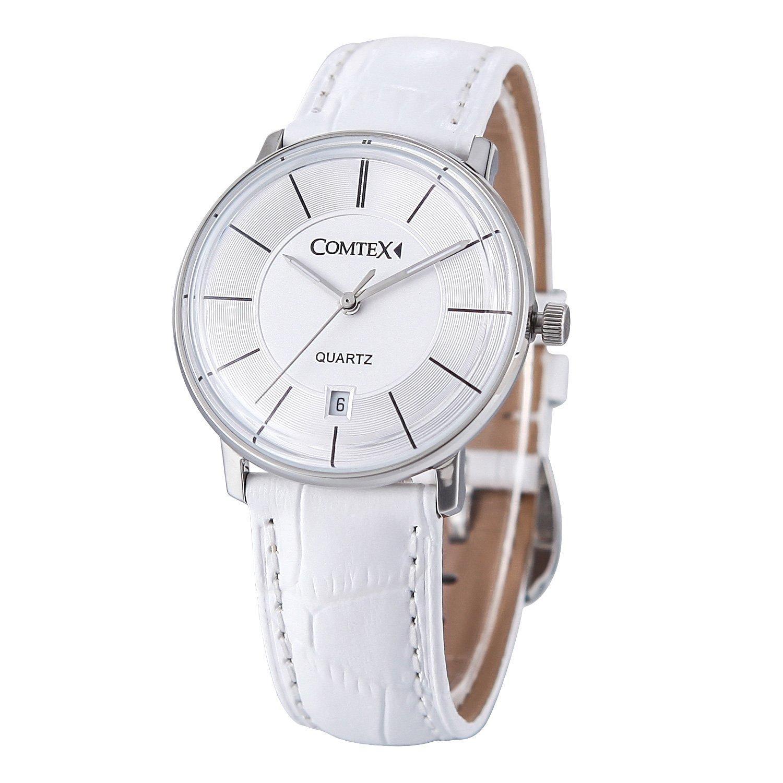 Comtex Damen-Armbanduhr mit weißem Zifferblatt Golden Fall Kalender Wasserdicht