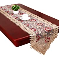 Grelucgo Beige Burgundy Lace Table Runners and Dresser Scarves Doilies (13 x 36 inch)