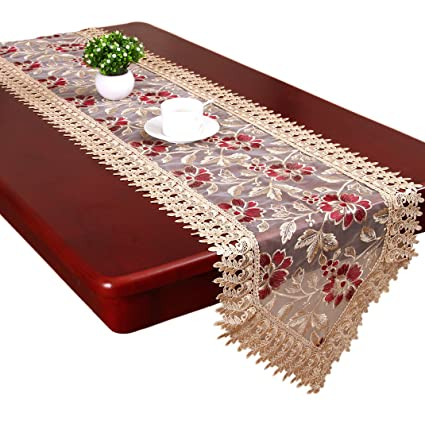 Beige Burgundy Lace Table Runners And Dresser Scarves Doilies (13 X 36 Inch)