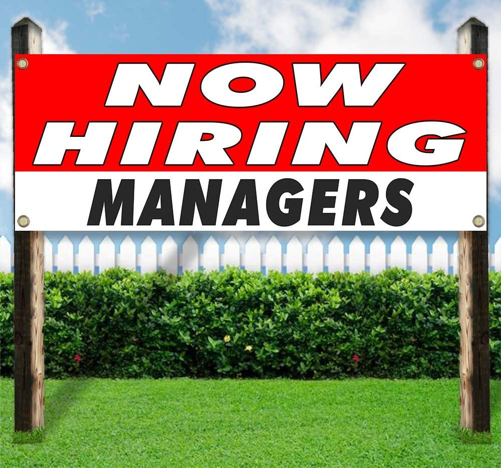 Now Hiring Managers Banner is a 13 oz Premium Heavy Weight Vinyl Banner Sign with Metal Grommets and displays in New Condition for Store or Other Advertising See Also Flags