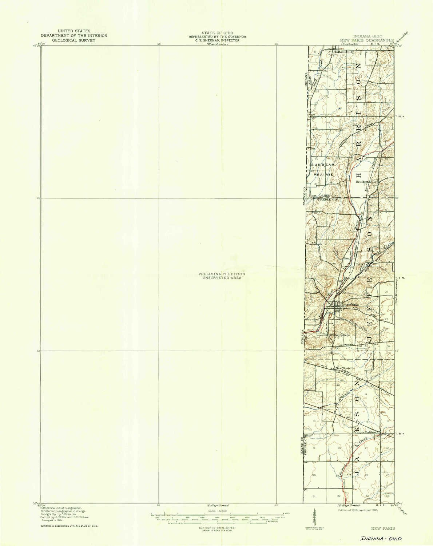 New Paris Ohio Map.Amazon Com Yellowmaps New Paris Oh Topo Map 1 62500 Scale 15 X 15