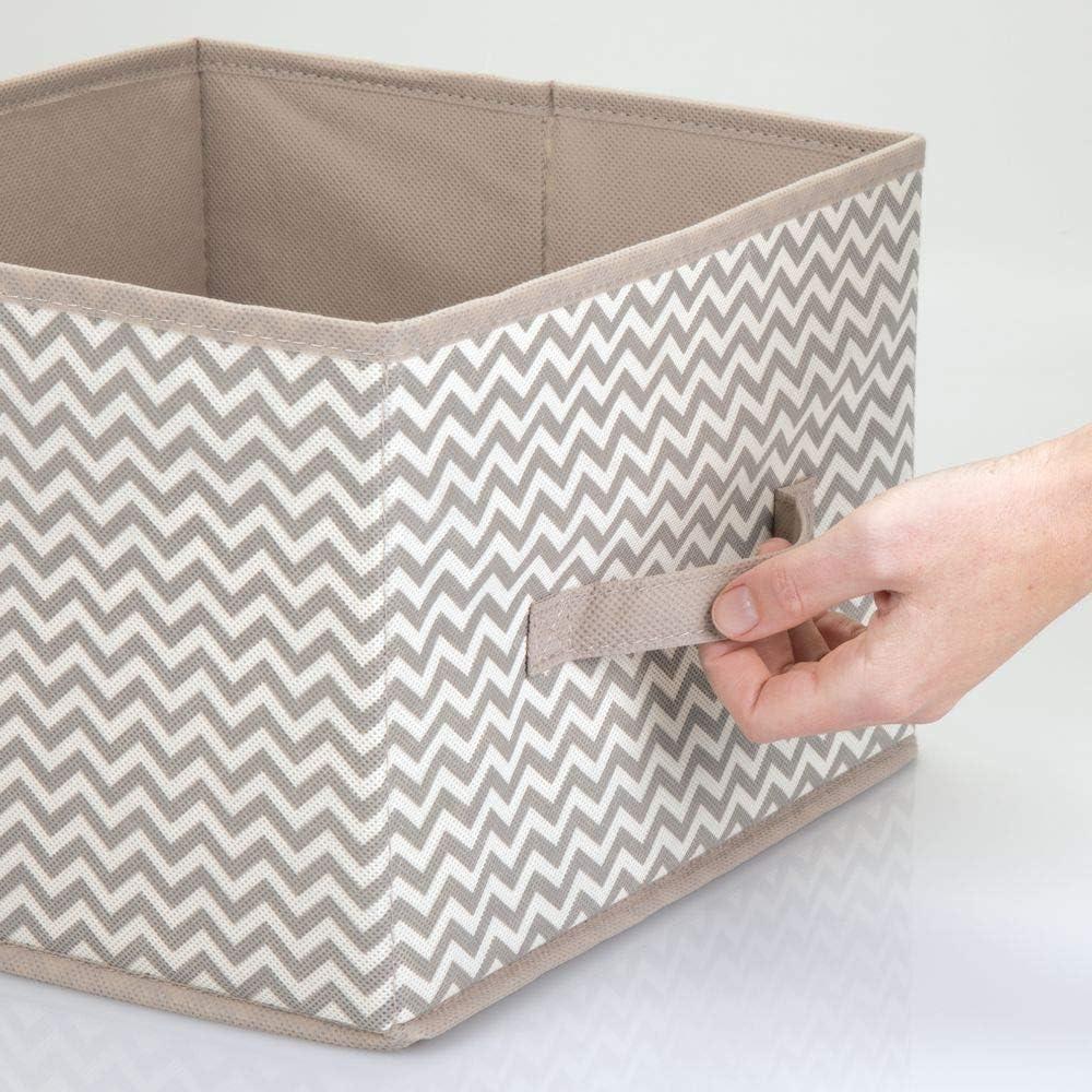 Stoffkiste mit klassischem Muster f/ür Kleidung cremefarben//braun Accessoires und mehr f/ür Ordnung im Kleiderschrank Decken mDesign 2er-Set Aufbewahrungsbox aus Stoff