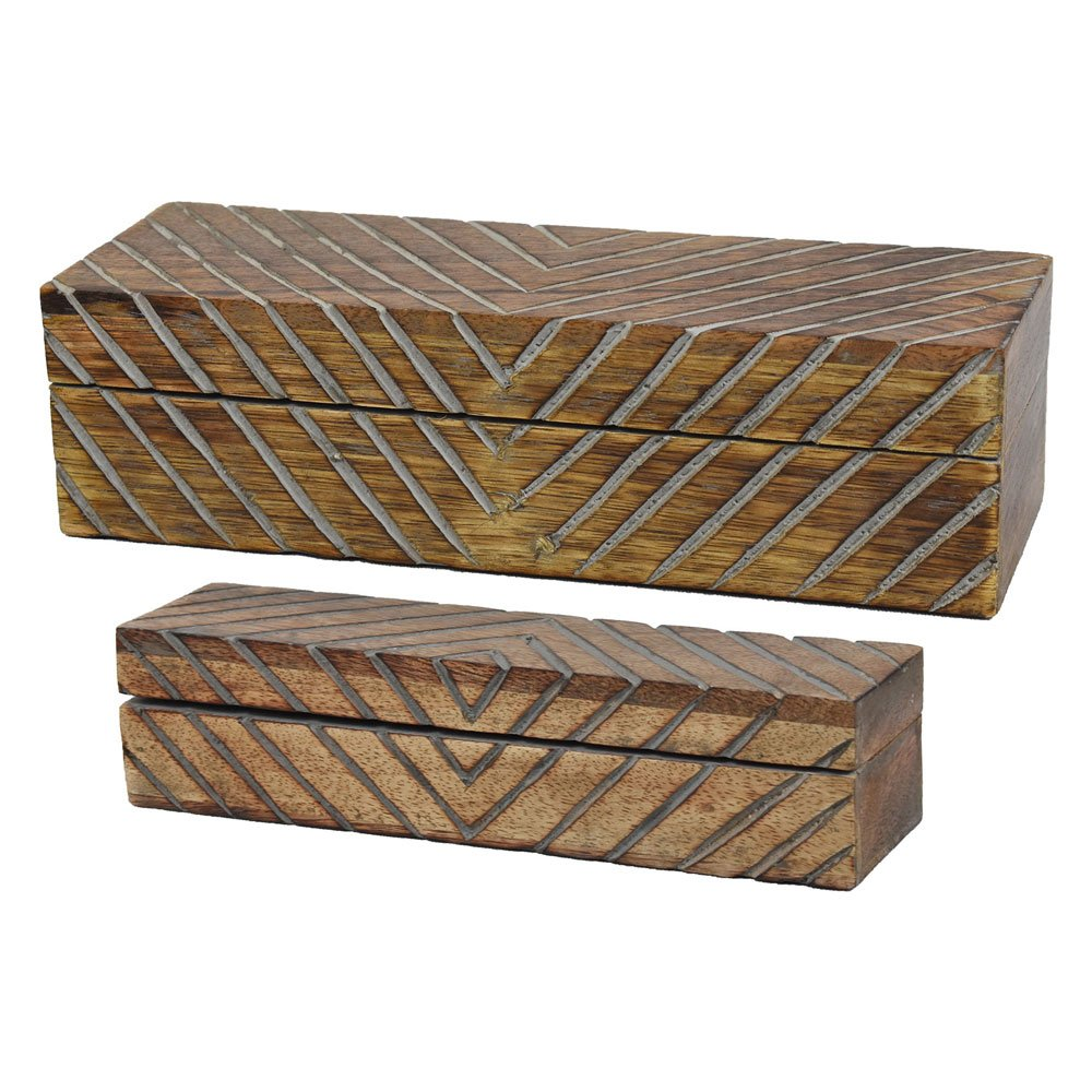 Indian Heritage Wooden Jewelry Box Mango Wood in Dark Wood and Grey Finish (Set of 2 box)
