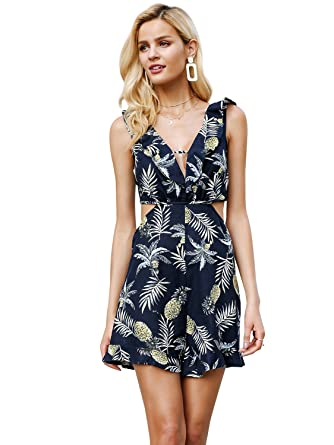 262292312448 Simplee Women Summer V Neck Sleeveless Lace Up Backless Floral Print Jumpsuit  Romper 8 Navy Blue