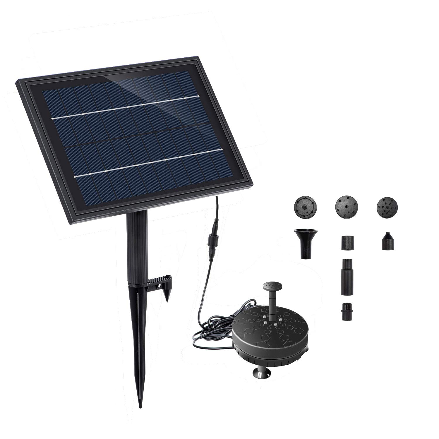 Lewisia Battery Backup Solar Fountain Pump with LED Lighting