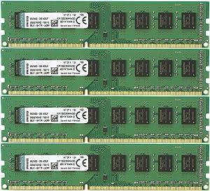 Kingston ValueRAM 32GB Kit (4x8GB) 1333MHz DDR3 Non-ECC CL9 DIMM STD Height 30mm Desktop Memory KVR1333D3N9HK4/32G