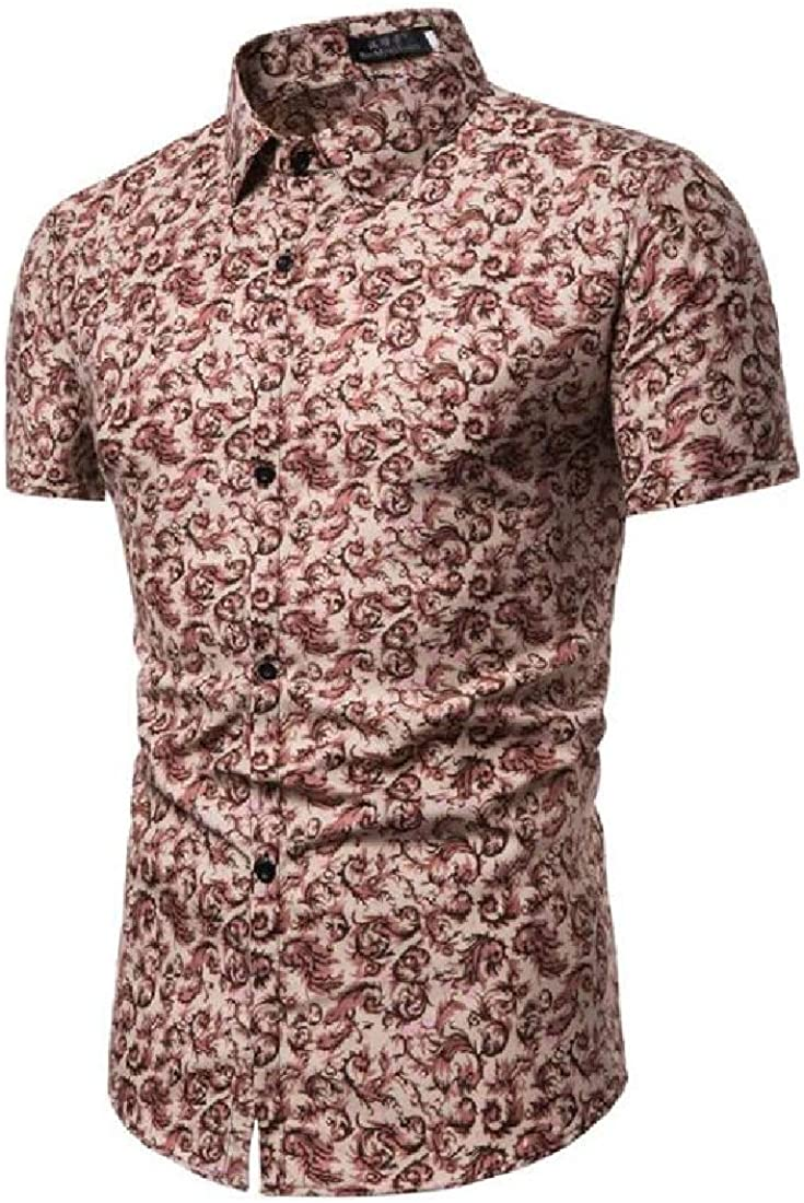 Mstyle Mens Summer Lapel Collar Slim Fit Floral Printed Vogue Short Sleeve Button Down Dress Shirts