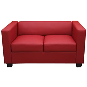 Lounge sofa leder  2er Sofa Couch Loungesofa Lille ~ Leder, rot: Amazon.de: Küche ...