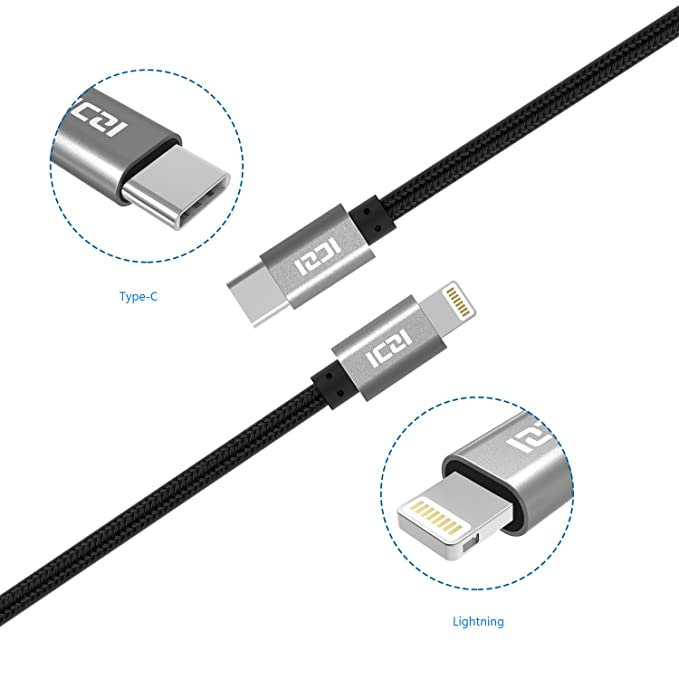 15 opinioni per iPhone X / iPhone 8 Cavo USB C a Lightning [ 2 Pz, 1 m e 1,8 m ] in Alluminio