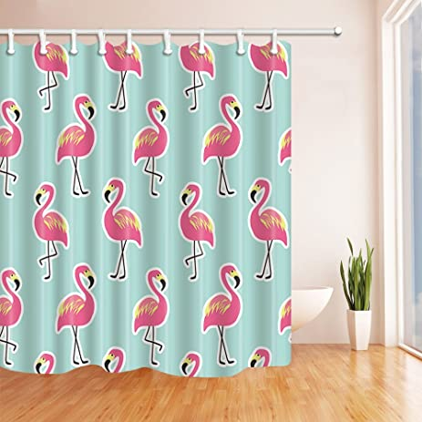 NYMB Birds Pink Flamingo On Mint Pineapple Background Shower Curtain Mildew Resistant Waterproof Polyester Fabric