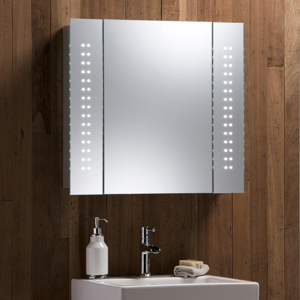 Illuminated Bathroom Mirror Cabinet With Wire Free Demister Shaver Socket  And Sensor Switch Aluminium Frame & Led Lights 60cm(h) X 65cm(w) X 12cm(d)   C19