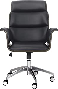 Christopher Knight Home Leander Mid-Century Modern Swivel Office Chair, Black + Gray + Silver