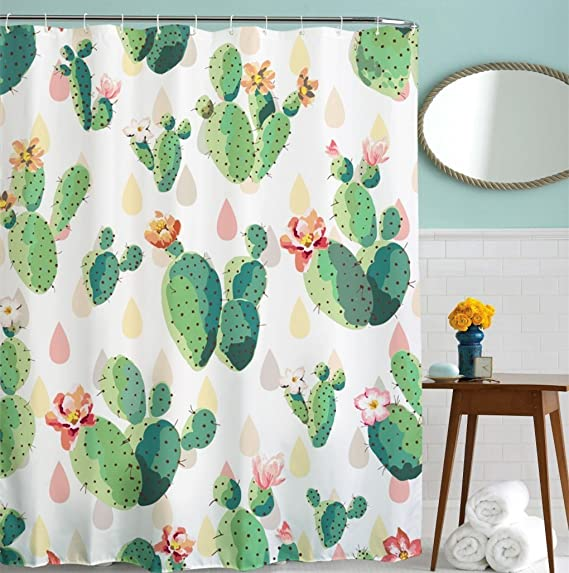 Goodbath Cactus Flowers Shower Curtains, Mildew Resistant Waterproof Polyester Fabric Bathroom Shower Sets with Hooks, 72 x 72 Inch, Pink Green White Yellow