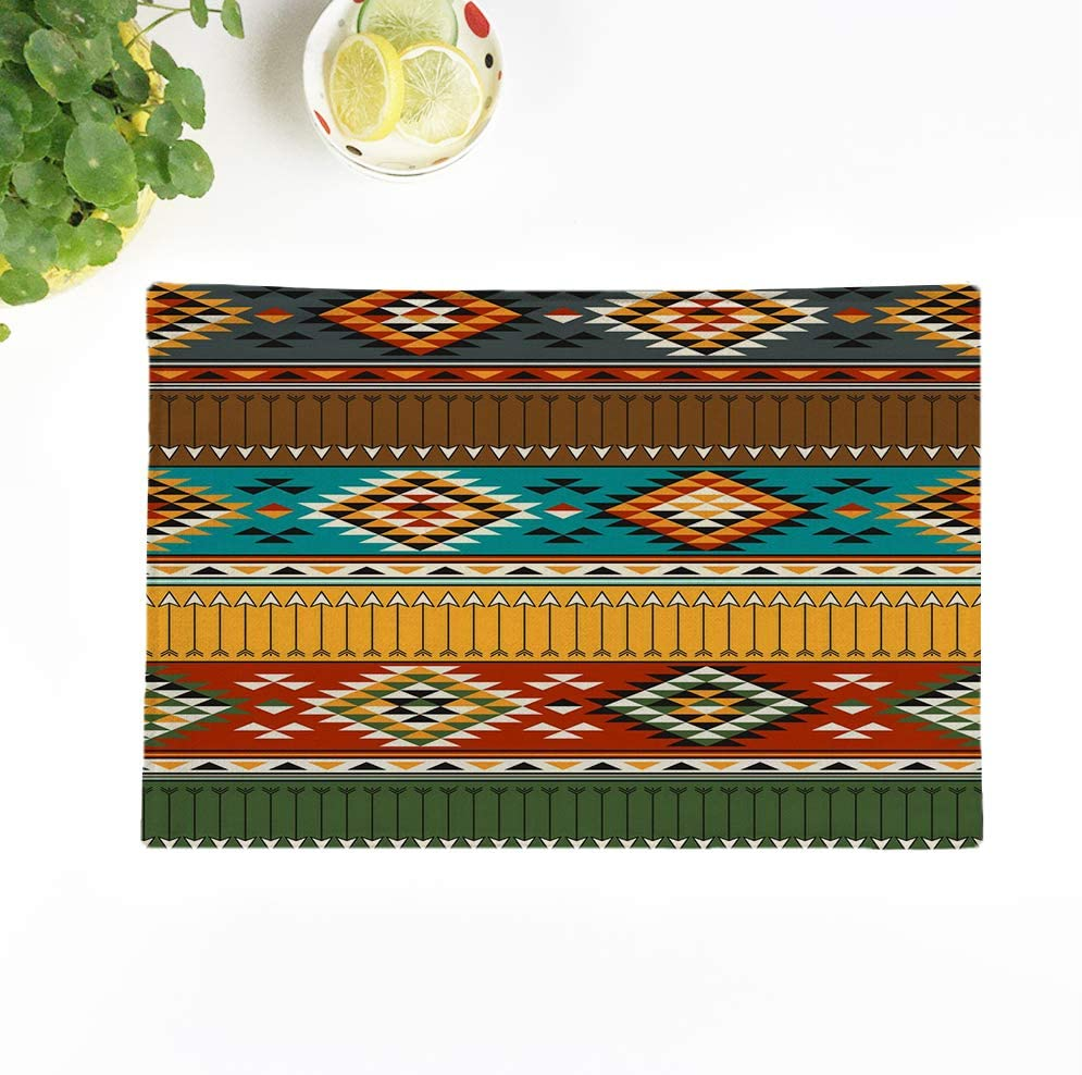 rouihot Set of 8 Placemats Ethnic Tribal Multicolor American Indian Abstract America Arrow Beauty 12.5x17 Inch Non-Slip Washable Place Mats for Dinner Parties Decor Kitchen Table