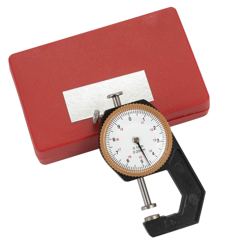 Genauigkeit 0,1 mm SOPRETY Dickenmesser Analog Dickenmessger/ät 0-20mm Measuring Gauge Taschendickenmessger/ät mit der flachen Messtastern im Plastikbox