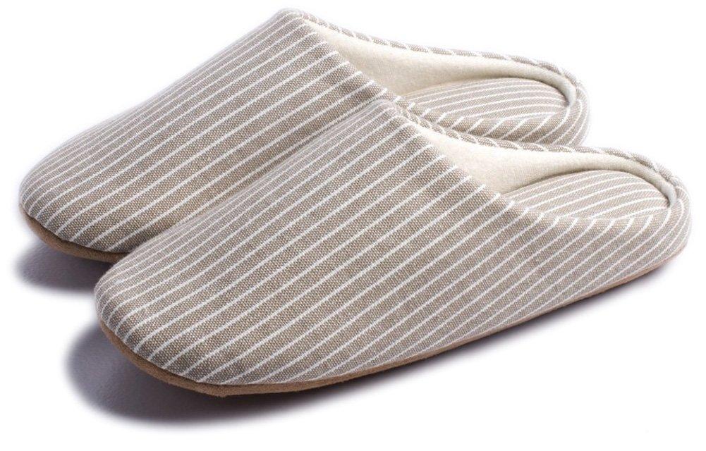 Indoor Slippers Soft Bottom Home Autumn Winter Memory Foam Wood Floor Couple Cotton Men Women (Women7-8.5/Men5.5-7, White)
