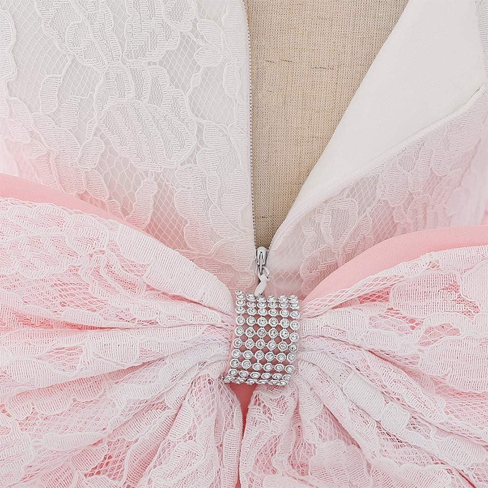 IWEMEK Toddler Baby Girl Dress Flower Lace Dress Bowknot Bridesmaid Wedding Tutu Princess Birthday Party Dress Christening Dress Kids Festive Formal Pageant Prom Dress