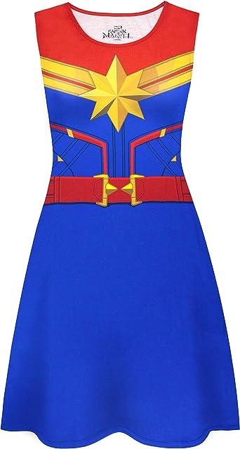 Captain Marvel Hero Suit Ladies Fancy Dress Superhero Heroine Halloween Costume