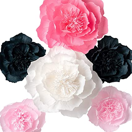 Amazon paper flower decorations giant paper flowers large paper flower decorations giant paper flowers large crepe paper flowers pink white mightylinksfo