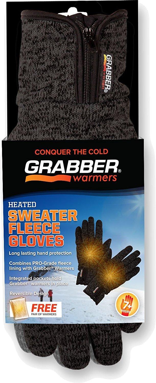 GRABBER GBGGSM 8 Pack 7+ Hour Heated Sweater Fleece Small/Medium Glove, Gray