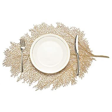 MLADEN Metallic Leaf Placemats,Stain Resistant Washable PP Table Mats,Non-Slip Place Mats Table Decoration Set of 4 (Gold)