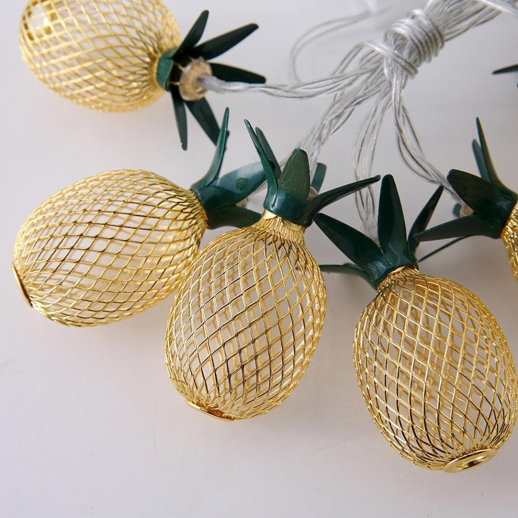 Aobiny Lamp string, LED Metal Hollowed Pineapple Holiday Decorative Lamp String (Gold) by Aobiny (Image #4)