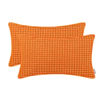 BRAWARM Cozy Bolster Pillow Covers Cases for Couch Sofa Bed Solid Corduroy Corn Striped Supersoft Cushion Covers with Piping Both Sides for Home Decor 12 X 20 Inches Sun Orange Pack of 2