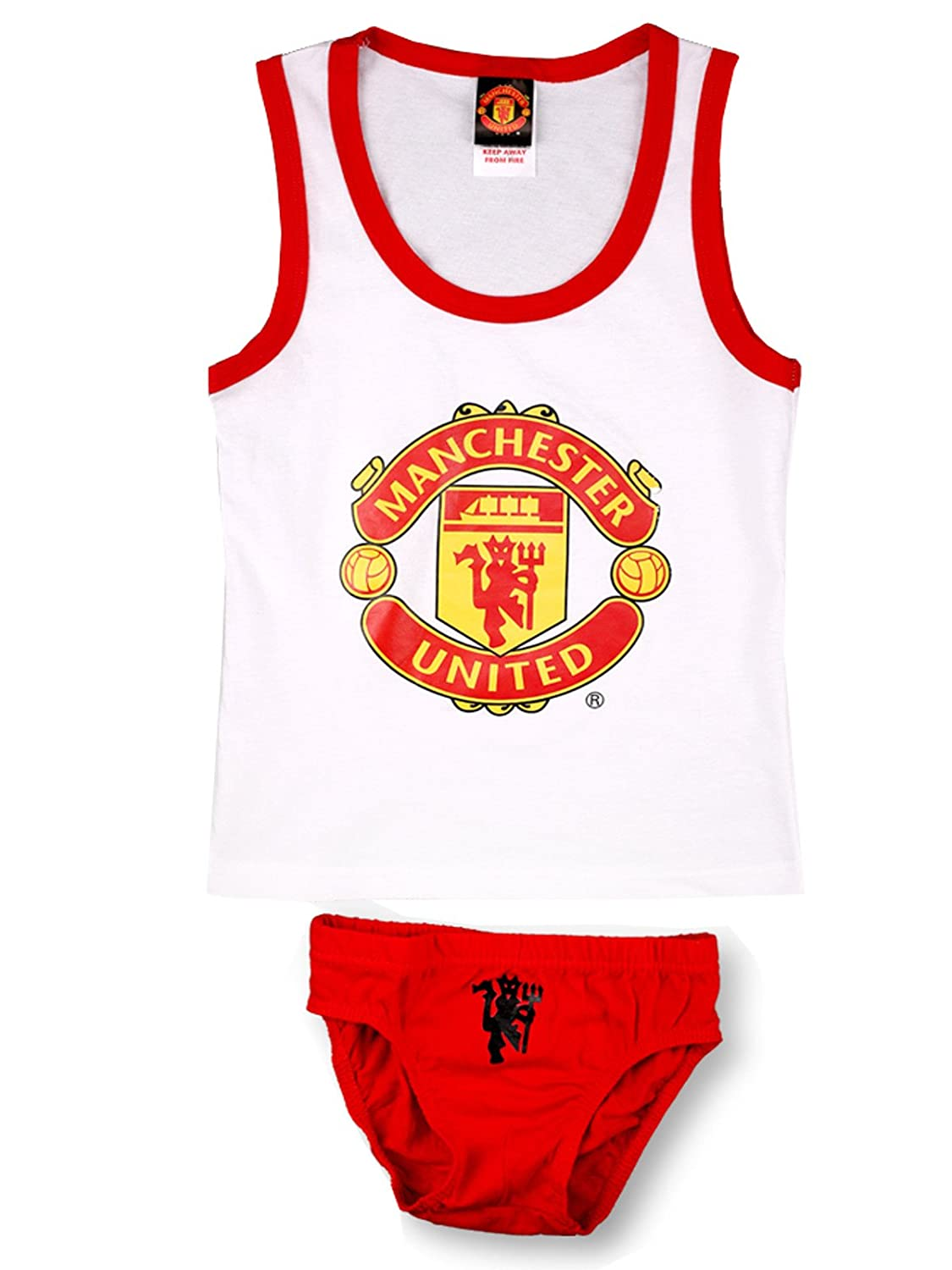 Boys Official MUFC Manchester United Vest and Brief Set 7 to 12 Years