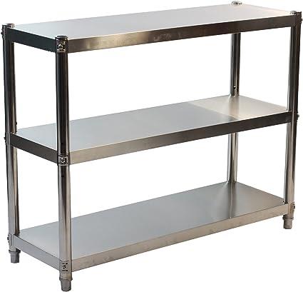 GOLDBEARUK Estantería de cocina de acero inoxidable – Solución de almacenamiento de cocina higiénica – 3 niveles (mediano 80 x 80 cm)