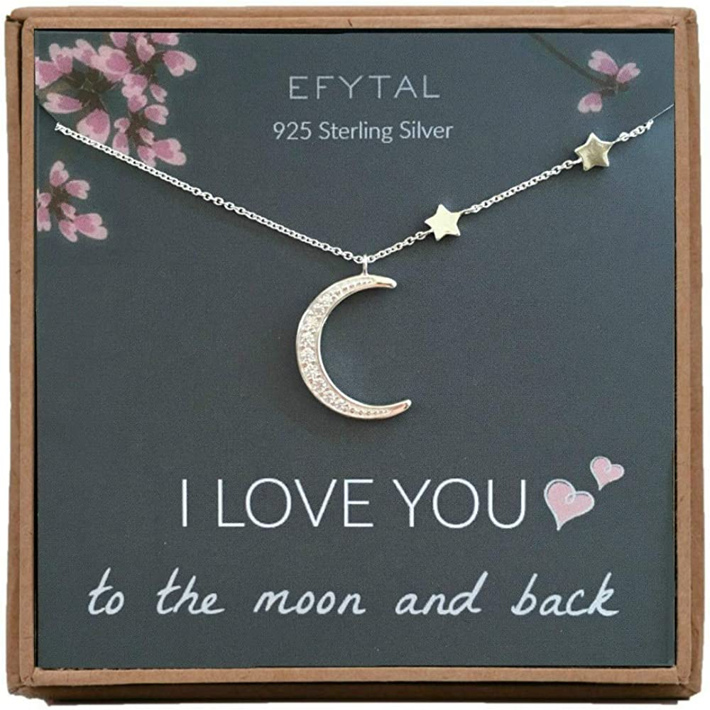 Silver Christmas Sister Moon and star Necklace Silver crescent moon and gold star Jewelry Friendship Necklace Birthday Mom Gift