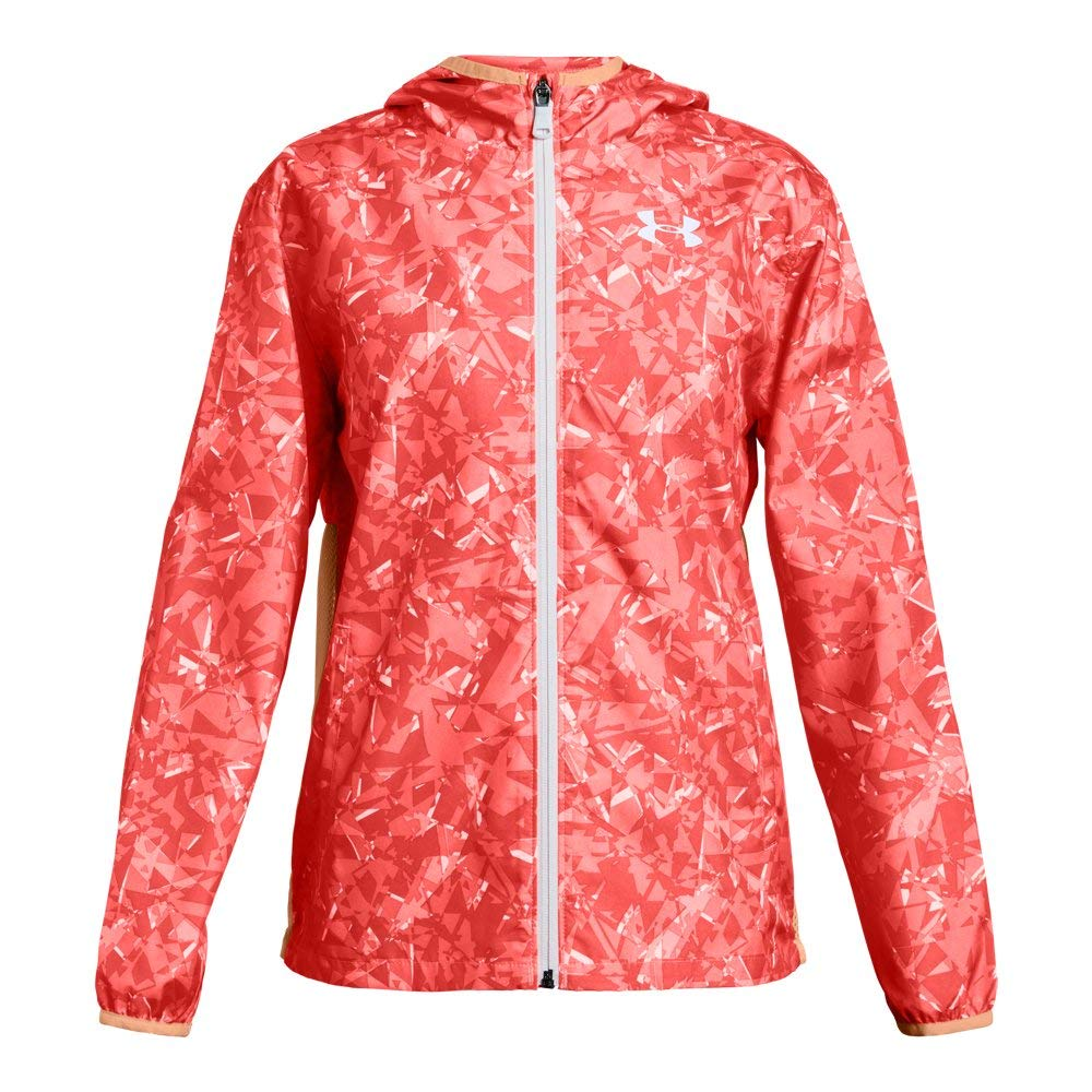 Under Armour Girls' Sackpack Jacket, After Burn (877)/White, Youth Small by Under Armour