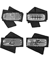 TECKING Naruto Headband with Metal Plated Cosplay Leaf Village Ninja Kakashi Uzumaki Akatsuki Gaara(Black,Pack of 4)