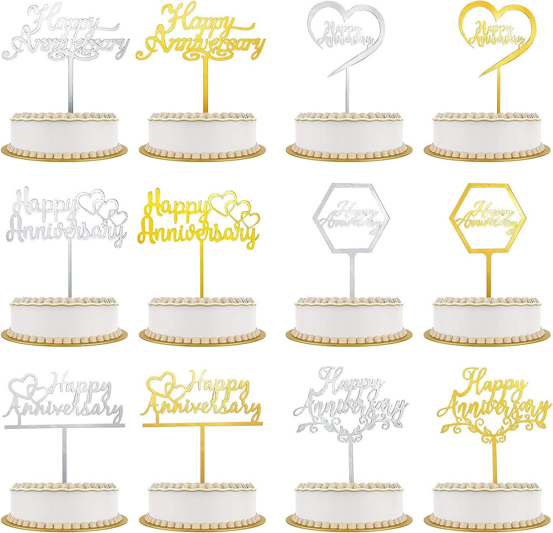 Kauayurk 12pcs Happy Anniversary Cake Topper Party Decoration Supplies Happy Anniversary Cake D/écor Gold Sliver Wedding Anniversary Acrylic Cake Topper