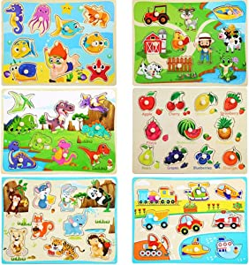 6 Pcs Wooden Peg Puzzles for Toddlers 2 3 4 Years Old,Chunky Baby Knob Puzzles Set - Farm Animals Fruit Traffic- Preschool Educational Learning Toys forToddles 18 Months and Up