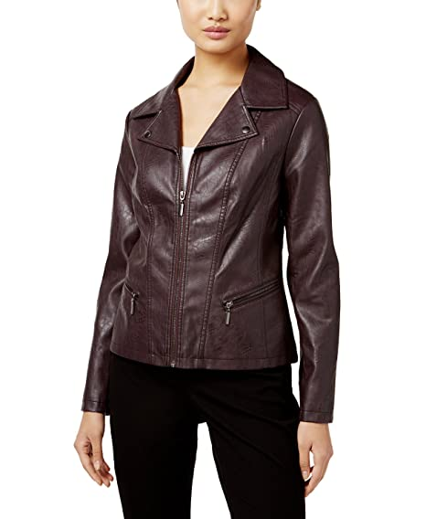 a024330c6 Alfani Wine Womens Faux-Leather Motorcycle Jacket Purple XL at ...