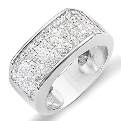 200 Carat ctw 14k White Gold Princess Diamond Invisible Set