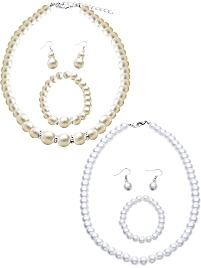 c6b693bbeddd 2 Juegos de Collar Pendientes Pulsera Elegante de Perlas Cristal Falsas  Conjunto de Joyas para Mujeres de Moda Novia Boda  Amazon.es  Joyería