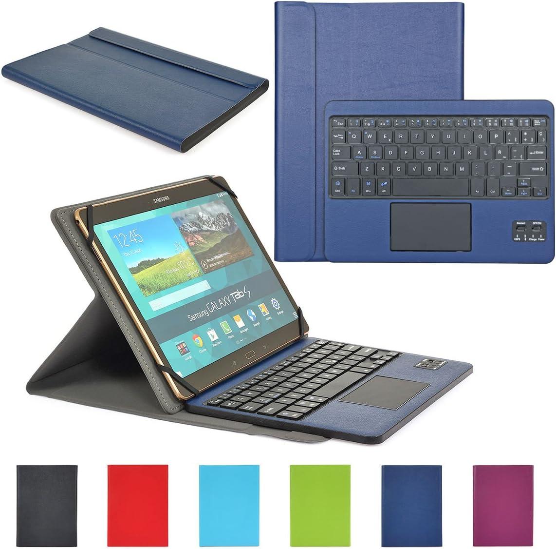 CoastaCloud Funda con Teclado Bluetooth Teclado Bluetooth Inalámbrico 3.0 QWERTY Español con Multi Touchpad - Compatible 9-10.6 Pulgadas Cualquier Windows/Android OS Tablet PC (Azul Oscuro)