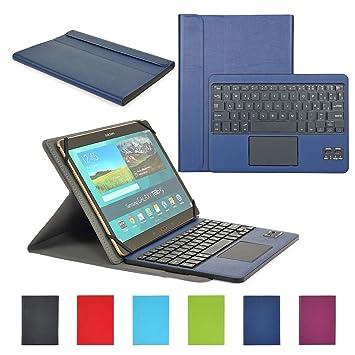 Funda con Teclado Bluetooth CoastaCloud Teclado Bluetooth Inalámbrico 3.0 QWERTY Español con Multi Touchpad - Compatible 9-10.6 Pulgadas Cualquier ...
