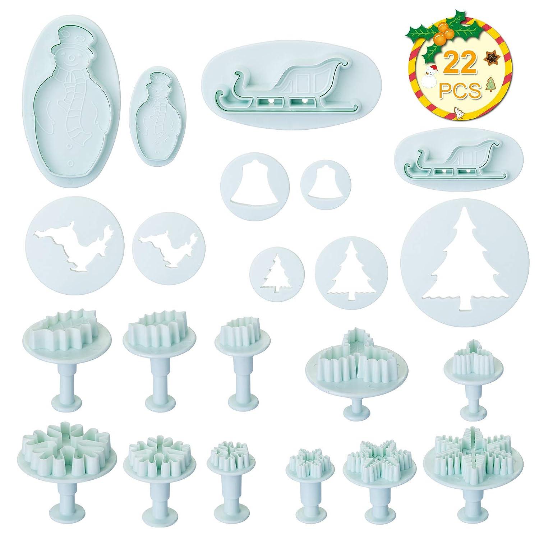 Fondente Set di 22 pezzi Natale Babbo Natale Albero di Natale LIHAO Stampini Tagliabiscotti per Decorazioni in Dolci Biscotti e la Pasta di Zucchero