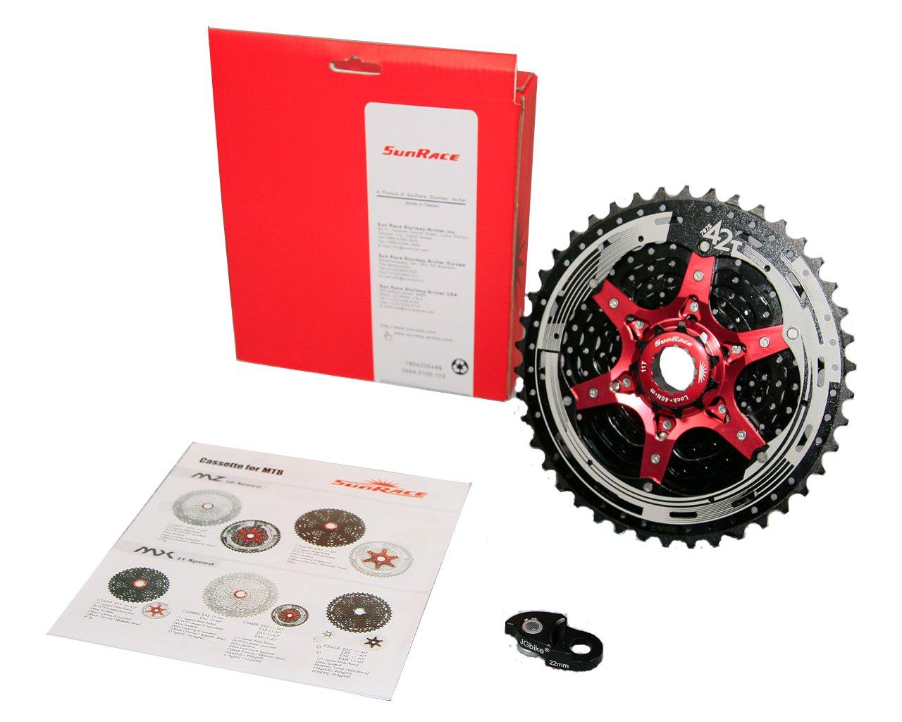 JGbike Sunrace 10 Speed Cassette 11-42T CSMX3 Black Wide Ratio MTB Cassette for Mountain Bike Including Extender