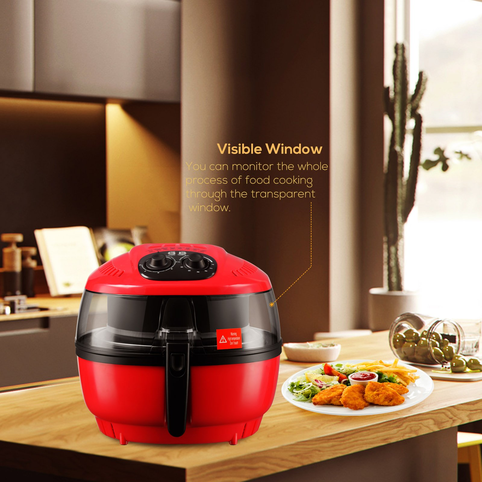 7.4QT XL Large Red Air Fryer-KUPPET 1400W Oilless Hot Air/Deep Fryer W/Rapid Hot Air Circulation System-Timer & Temperature Control-8 Cooking Presets-Included Recipe, Steamer, Fryer Pan