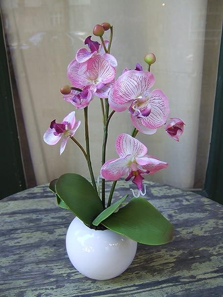 Licht & Grün exclusive Kunstpflanzen Künstliche Orchidee mit schönen Blüten und Knospen im runden Keramikgefäß