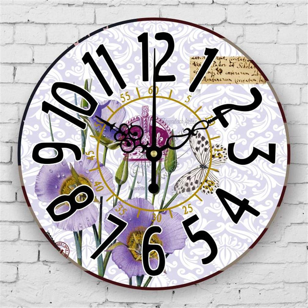 Amazon.com: Home Decoration Large Wall Clocks Silent Wall Clock Vintage Home Decor Fashion Big Flowers Wall Watches Relojes Decoracion Pared Style 14 14 ...