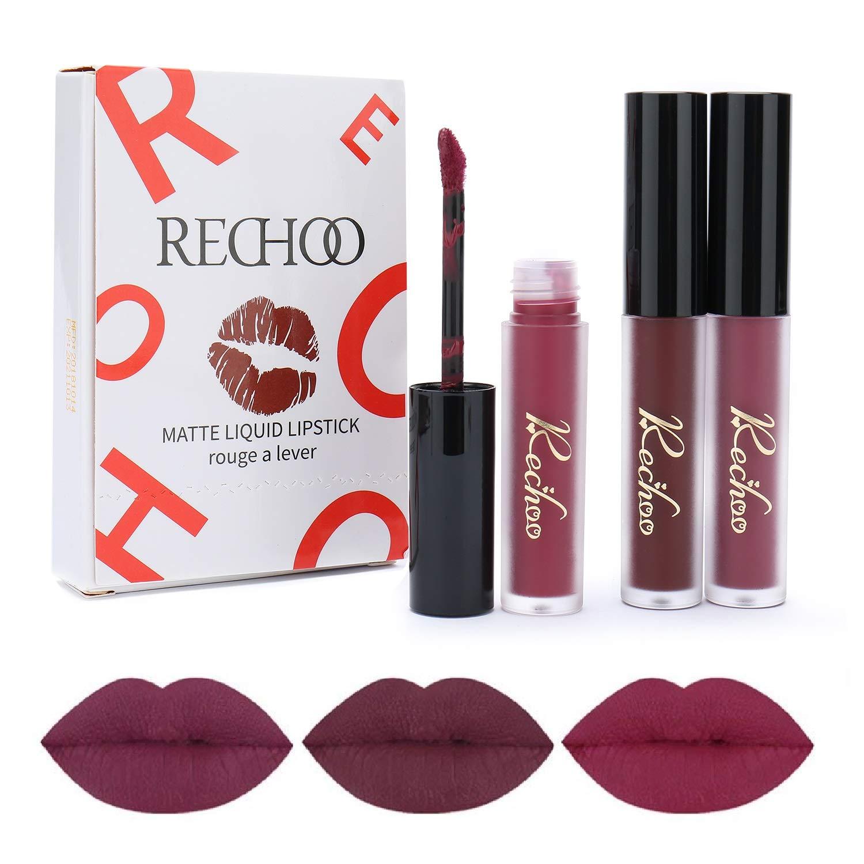 Rechoo Beauty Sexy 3 Unids / set Taza Antiadherente Lápiz Labial Impermeable Lipgloss Mate Lápiz Labial Líquido de Larga Duración Lápiz Labial Mate A: ...