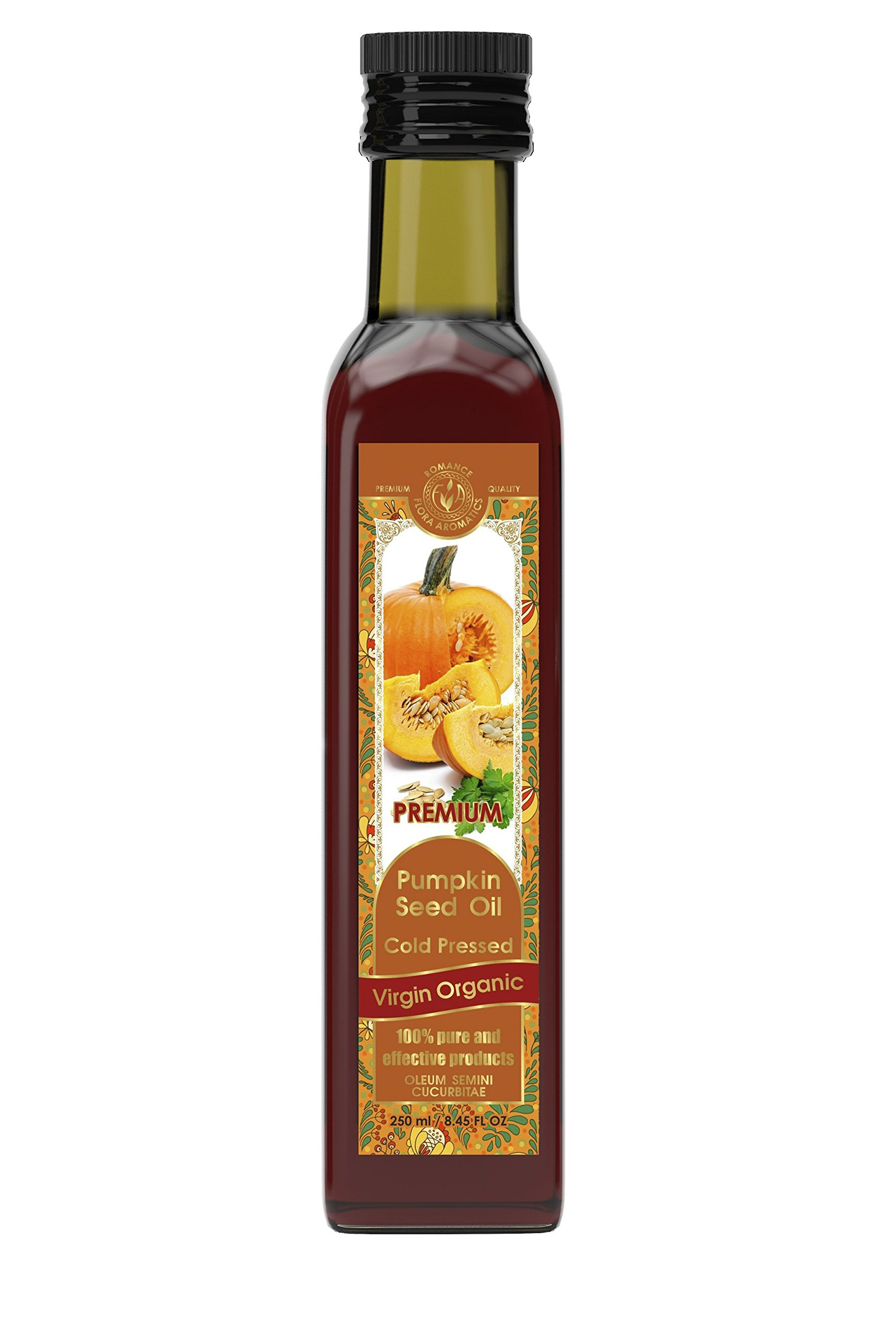 Pumpkin Seed Oil Cold Pressed Virgin Organic 8.45 fl oz/250 ml by Flora Aromatics