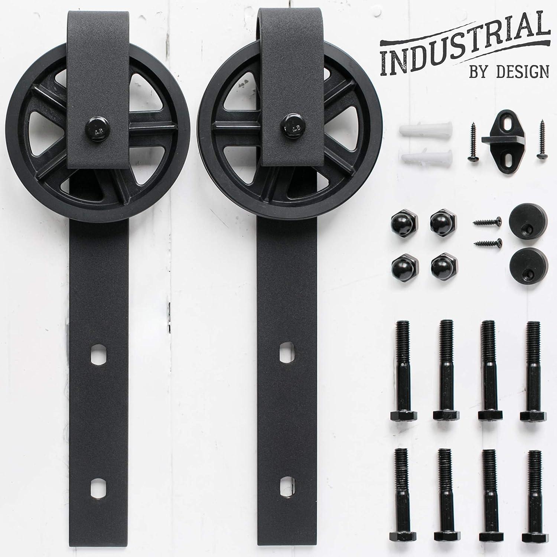 No Rail, Industrial By Design Industrial Strength Black, Pair - Ultra Quiet Big Wheel Sliding Barn Door Hangers Extra Hangers Only